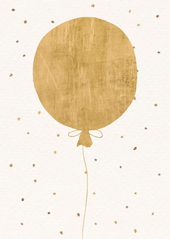 Cartão de convite de balão dourado com fundo festivo