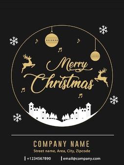 Cartão de convite de banner de anúncio de panfleto de natal preto e ouro