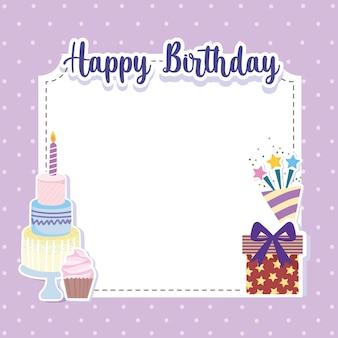 Cartão de convite de bolo de presente de aniversário