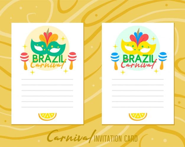 Cartão de convite de carnaval do brasil no fundo madeira