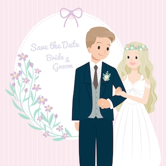 Cartão de convite de casal de casamento de personagem de desenho animado
