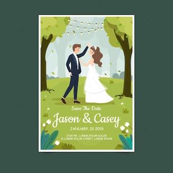 Cartão de convite de casal de casamento na primavera