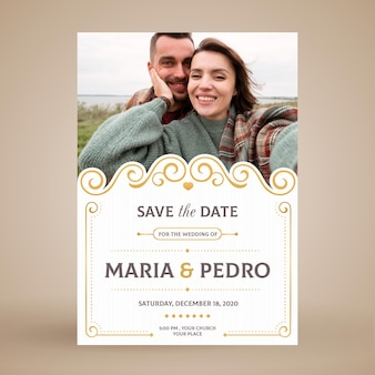Cartão de convite de casal de noivos