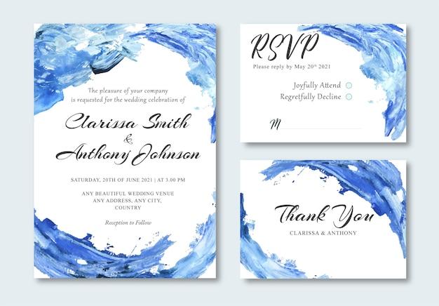 Cartão de convite de casamento abstrato azul oceano pintura