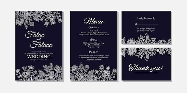 Cartão de convite de casamento abstrato floral e flor contorno modelo de estilo de arte doodle
