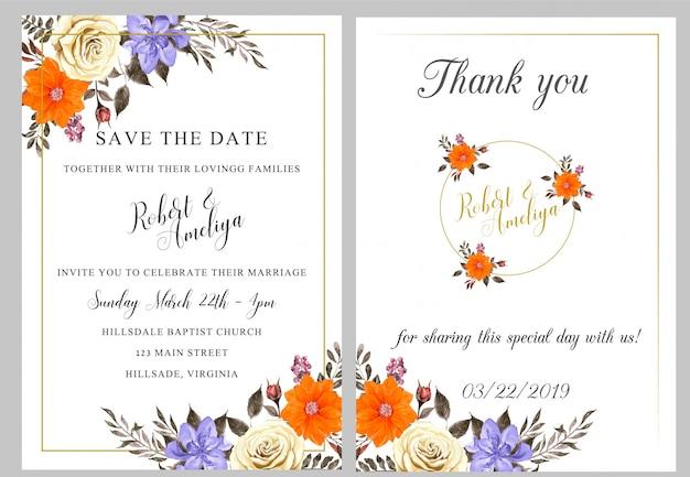 Cartão de convite de casamento aquarela com obrigado