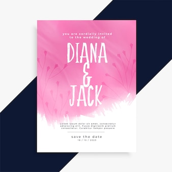 Cartão de convite de casamento aquarela rosa