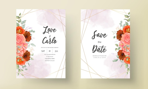 Cartão de convite de casamento boho floral marrom