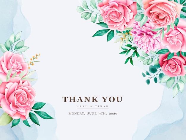 Cartão de convite de casamento bonito com coroa de flores em aquarela floral