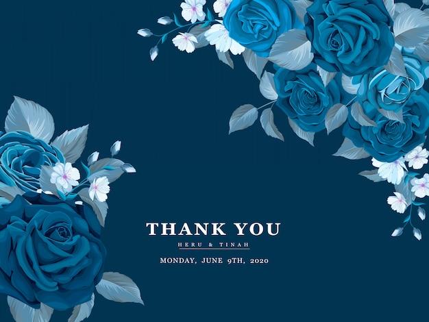 Cartão de convite de casamento bonito com guirlanda floral azul clássica Vetor Premium
