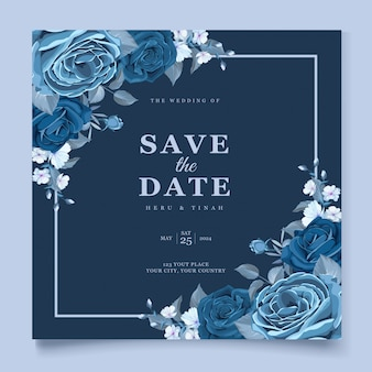 Cartão de convite de casamento bonito com guirlanda floral azul clássica