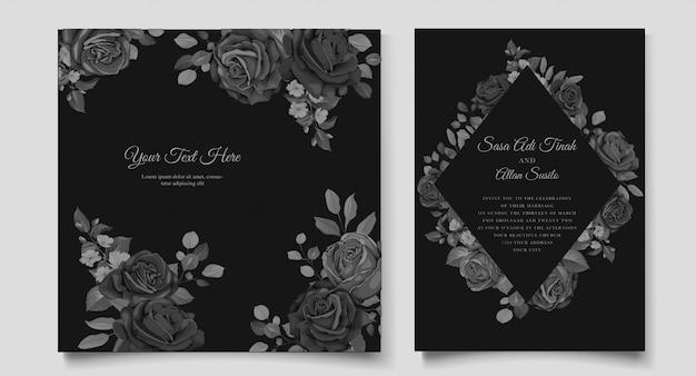 Cartão de convite de casamento bonito com guirlanda floral preta