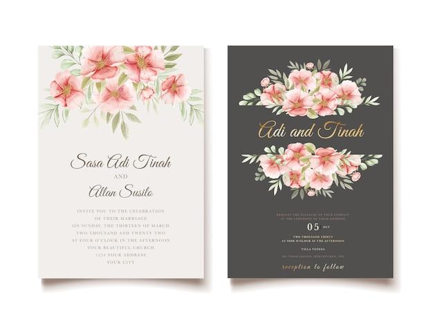 Cartão de convite de casamento bonito com guirlanda floral