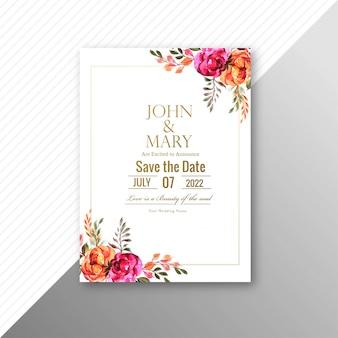 Cartão de convite de casamento bonito com modelo de moldura de flores