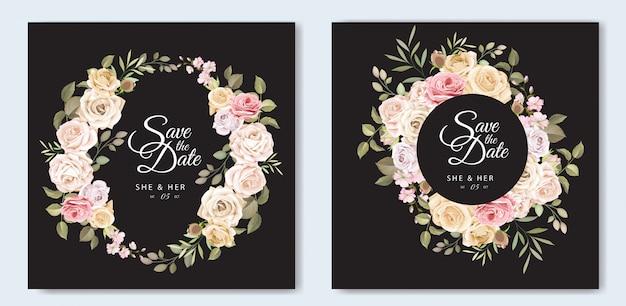 Cartão de convite de casamento bonito com modelo floral e folhas
