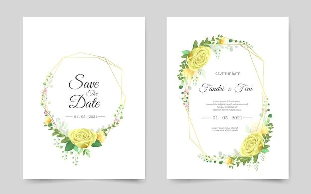 Cartão de convite de casamento bonito com rosa amarela