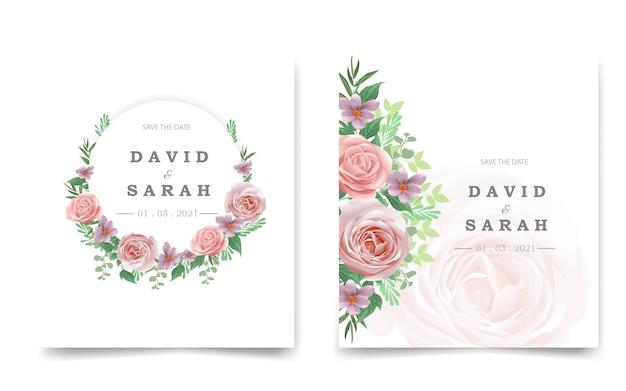Cartão de convite de casamento bonito com rosa vermelha
