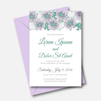 Cartão de convite de casamento bonito com um quadro de gerber