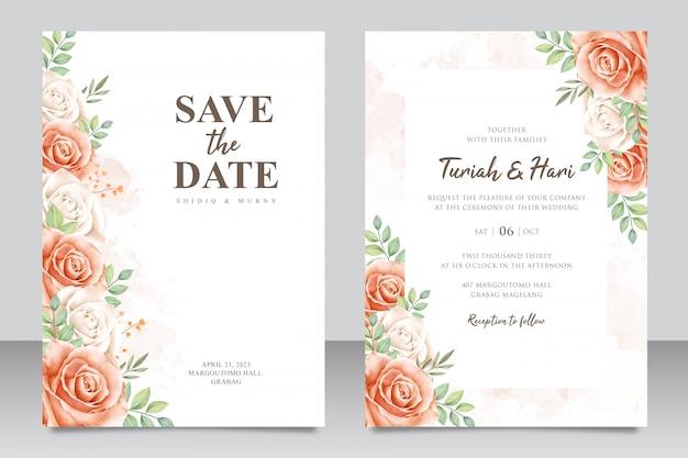Cartão de convite de casamento bonito conjunto com flores e folhas em aquarela