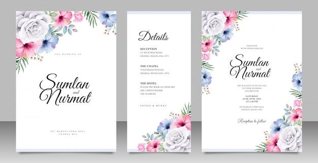 Cartão de convite de casamento bonito conjunto modelo com flores coloridas