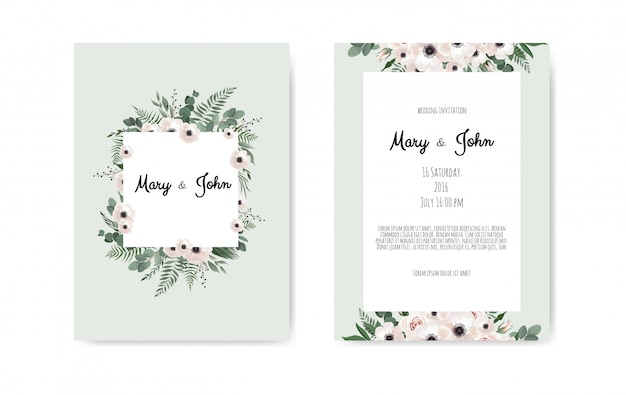 Cartão de convite de casamento botânica