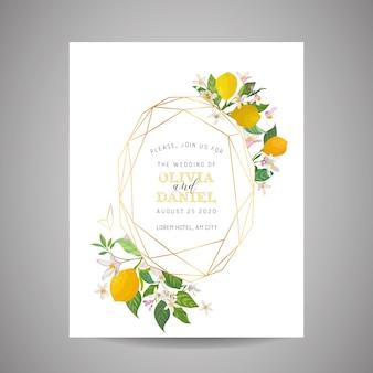 Cartão de convite de casamento botânico, vintage save the date, design de modelo de limões frutas flores e folhas, ilustração de flor. capa da moda de vetor, pôster gráfico, brochura