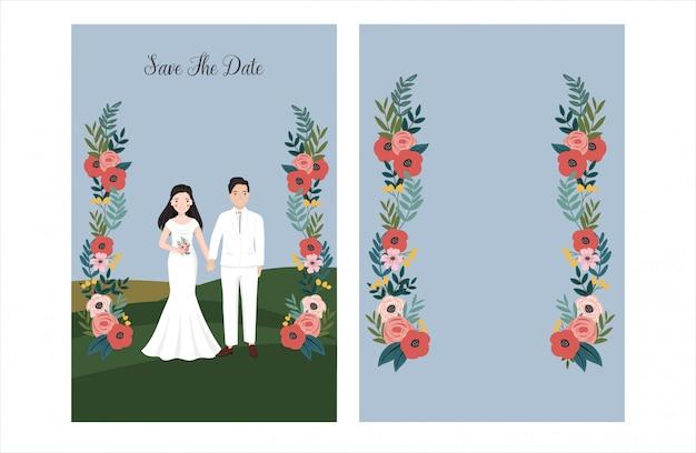 Cartão de convite de casamento botânico