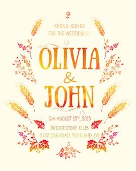 Cartão de convite de casamento. cartão de convite com elementos florais em aquarela