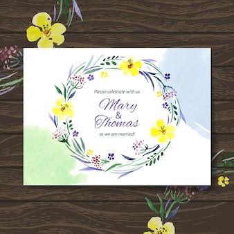 Cartão de convite de casamento com aquarela bouquet floral. fundo do vetor