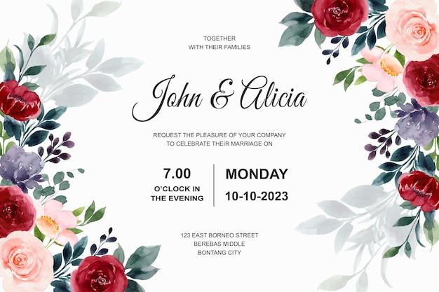 Cartão de convite de casamento com aquarela de flor rosa