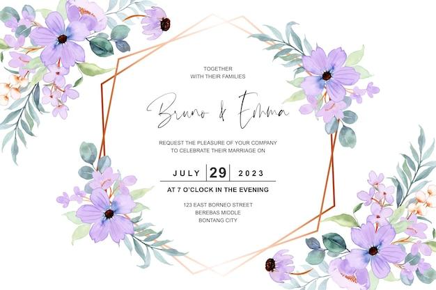 Cartão de convite de casamento com aquarela de flor roxa