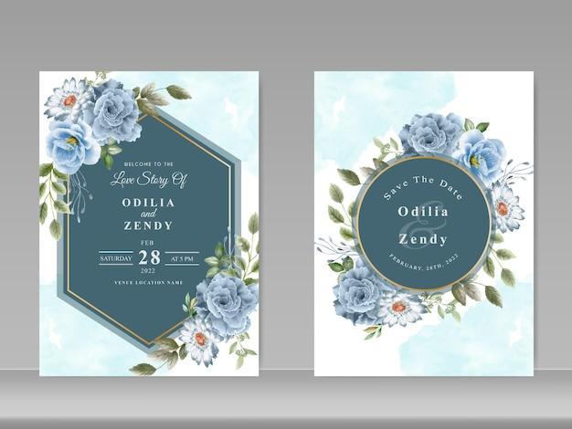 Cartão de convite de casamento com aquarela de flores azuis