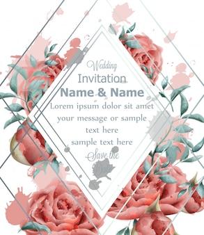 Cartão de convite de casamento com aquarela de flores rosas