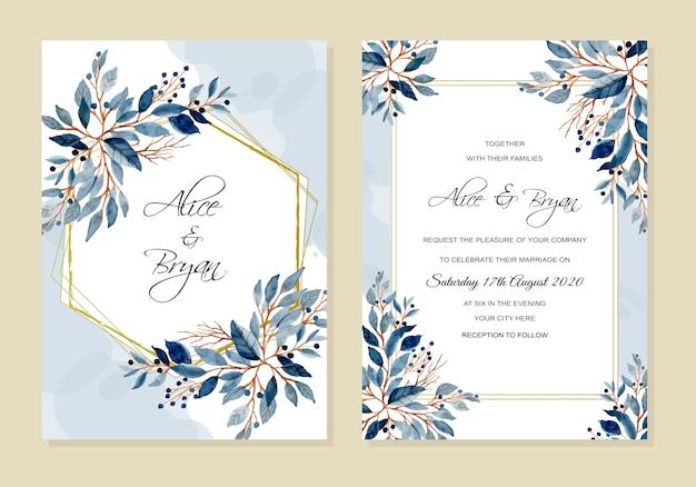 Cartão de convite de casamento com aquarela de folhas azuis
