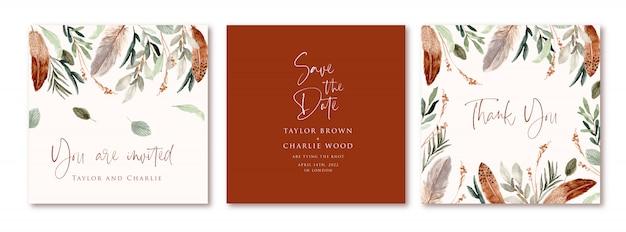 Cartão de convite de casamento com aquarela de folhas e penas no estilo boho