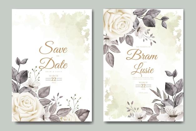 Cartão de convite de casamento com aquarela de folhas florais