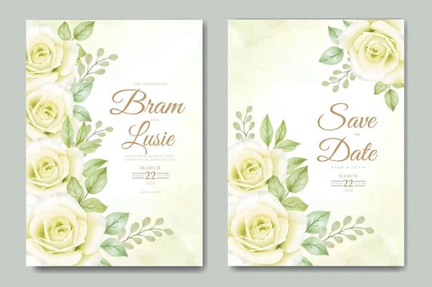 Cartão de convite de casamento com aquarela de folhas tropicais