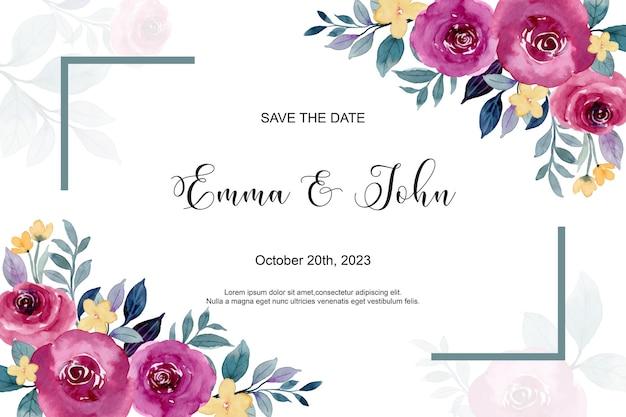 Cartão de convite de casamento com aquarela de rosas bordô