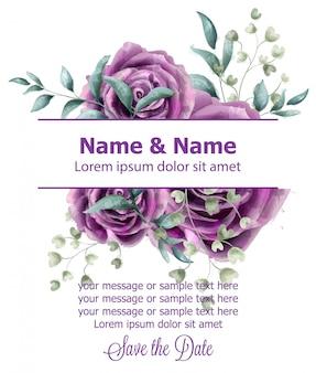 Cartão de convite de casamento com aquarela de rosas