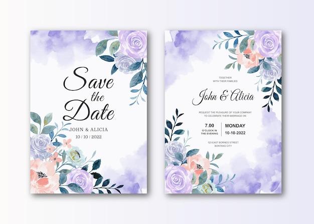 Cartão de convite de casamento com aquarela flor rosa roxa