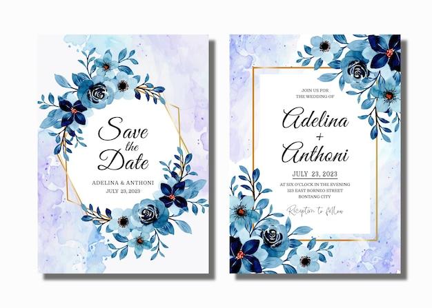 Cartão de convite de casamento com aquarela floral azul