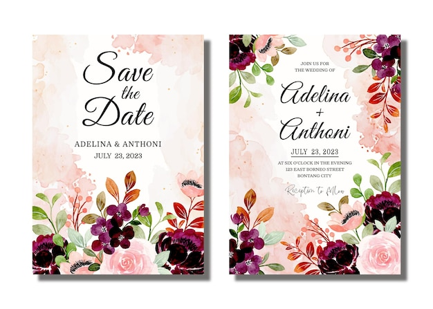 Cartão de convite de casamento com aquarela floral cor de vinho