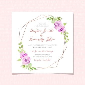 Cartão de convite de casamento com aquarela floral e moldura dourada