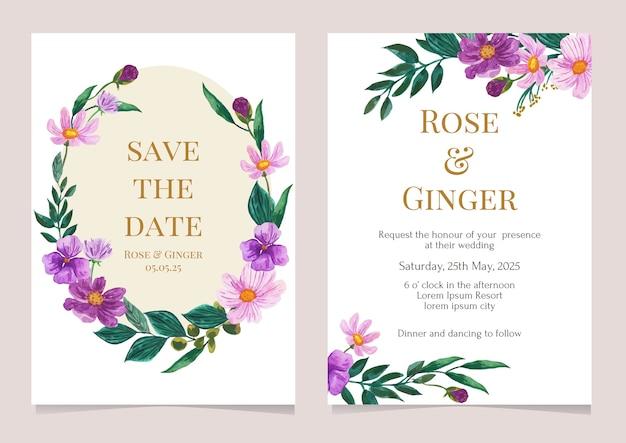 Cartão de convite de casamento com aquarela floral em roxo e rosa