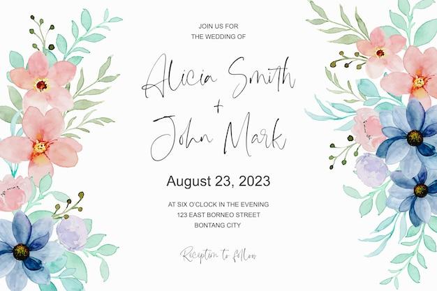 Cartão de convite de casamento com aquarela floral romântica