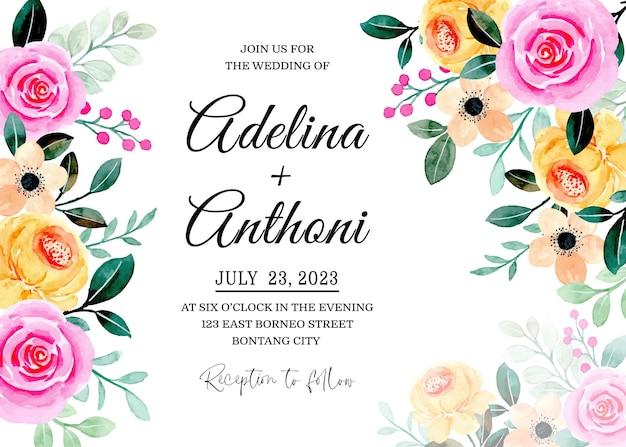 Cartão de convite de casamento com aquarela floral rosa amarela