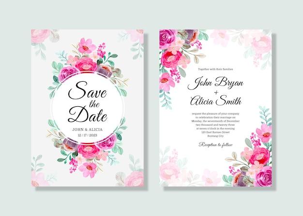 Cartão de convite de casamento com aquarela floral rosa roxa