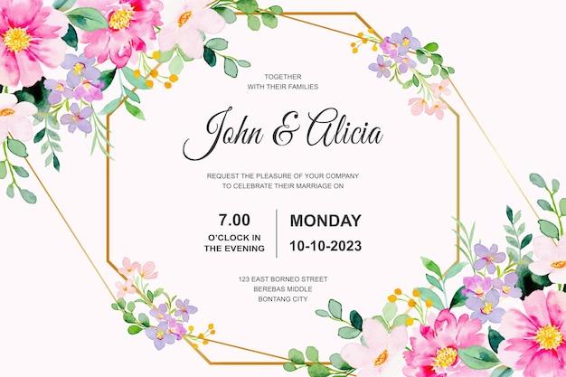 Cartão de convite de casamento com aquarela floral rosa