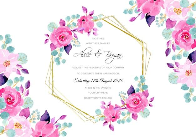 Cartão de convite de casamento com aquarela floral roxa rosa