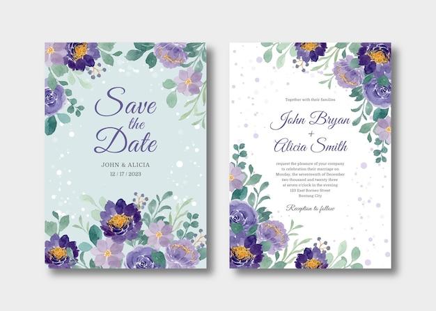 Cartão de convite de casamento com aquarela floral roxa